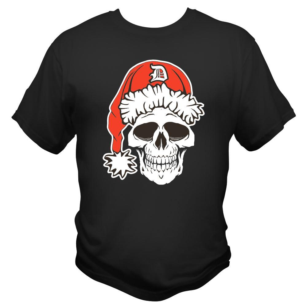 detroit santarchy skull t shirt front