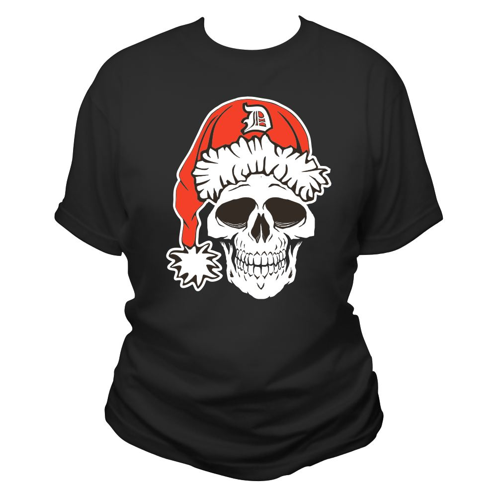 detroit santarchy skull women's t shirt